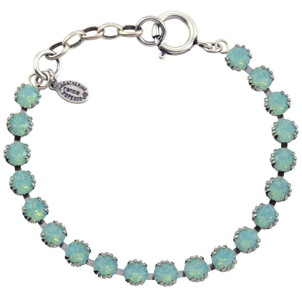 Catherine Popesco Round Tennis Bracelet, La Vie Parisienne Silver Plated with Green Swarovski Crystal, 8 1694 PAC