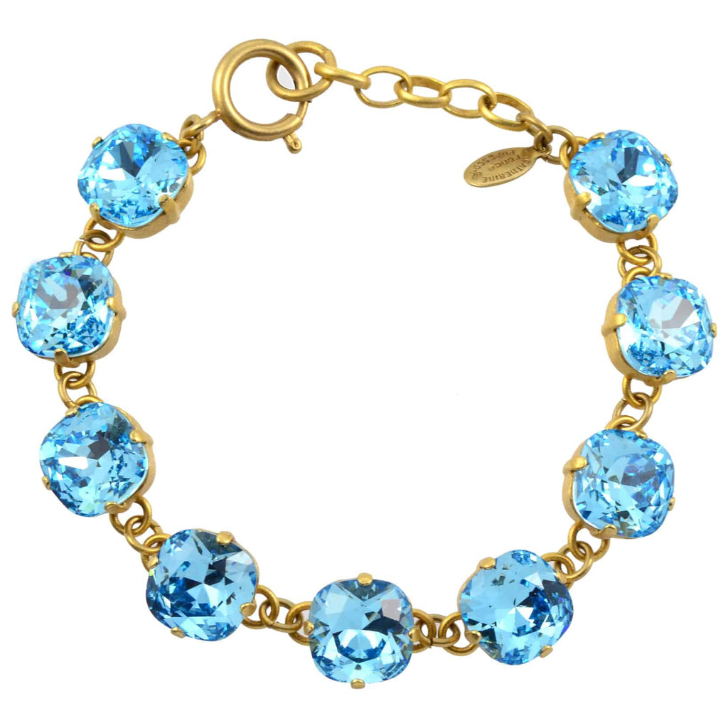 Catherine Popesco Rounded Square Tennis Bracelet, La Vie Parisienne Gold Plated with Blue Swarovski Crystal, 8 1696G AQU