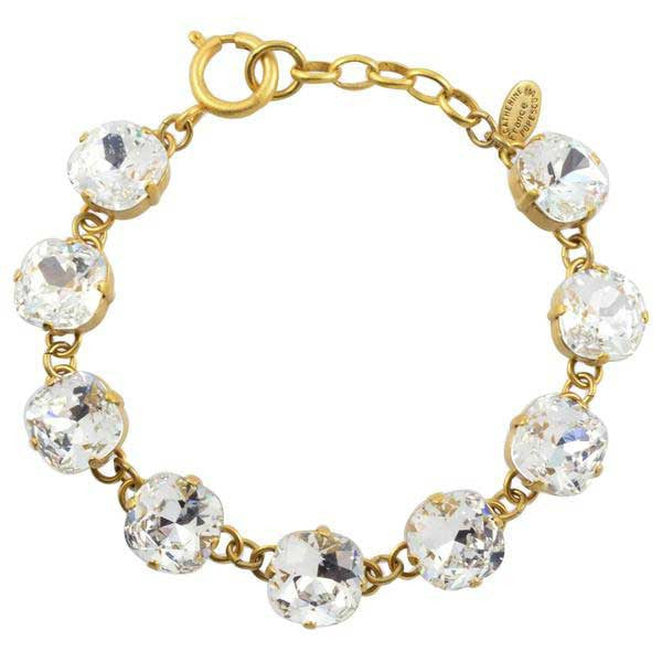 Catherine Popesco Rounded Square Tennis Bracelet, La Vie Parisienne Gold Plated with Clear Swarovski Crystal, 8 1696G CLR
