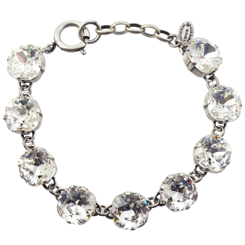 Catherine Popesco Rounded Square Tennis Bracelet, La Vie Parisienne Silver Plated with Clear Swarovski Crystal, 8 1696 CLR