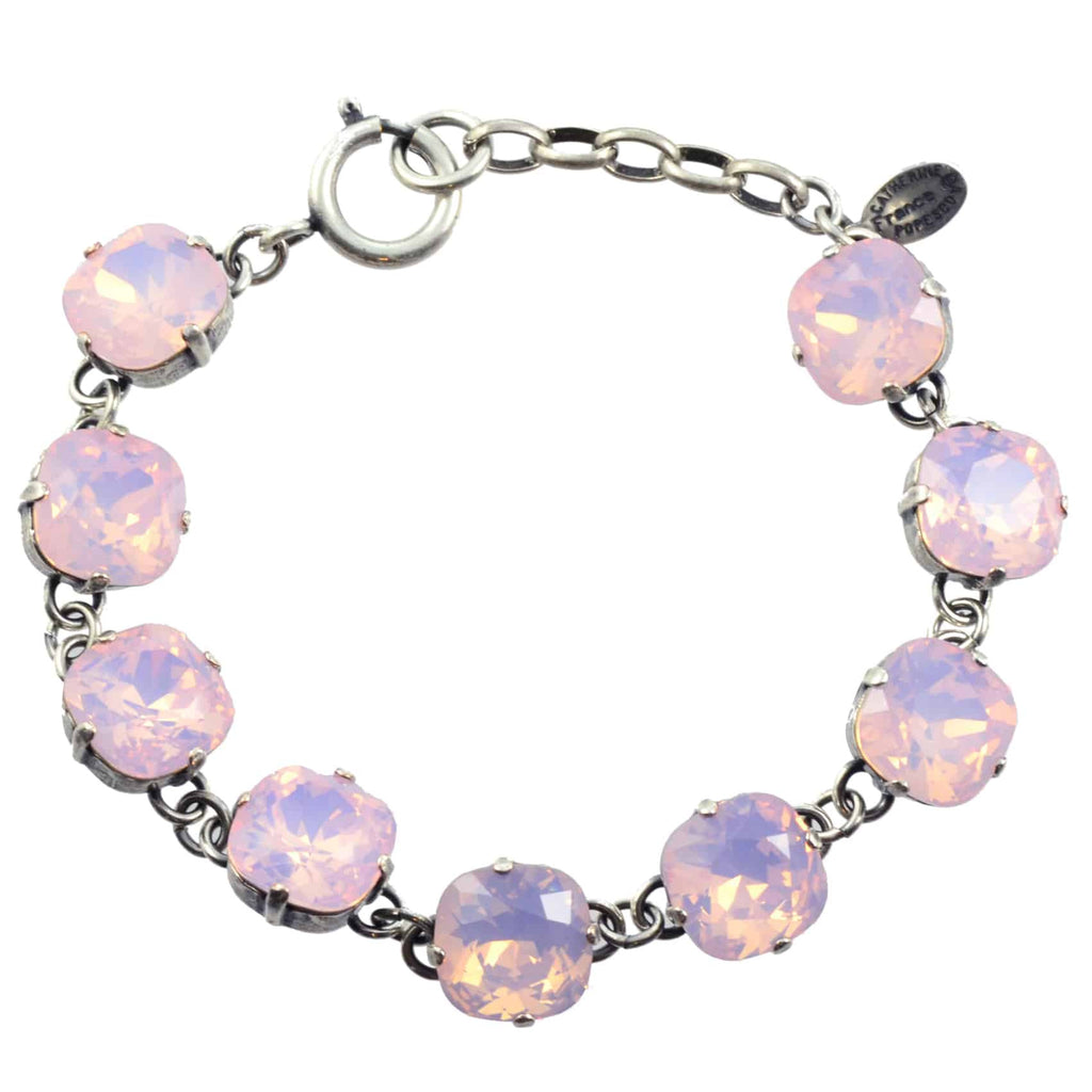 Catherine Popesco Rounded Square Tennis Bracelet, La Vie Parisienne Silver Plated with Light Pink Swarovski Crystal, 8 1696 RWOP