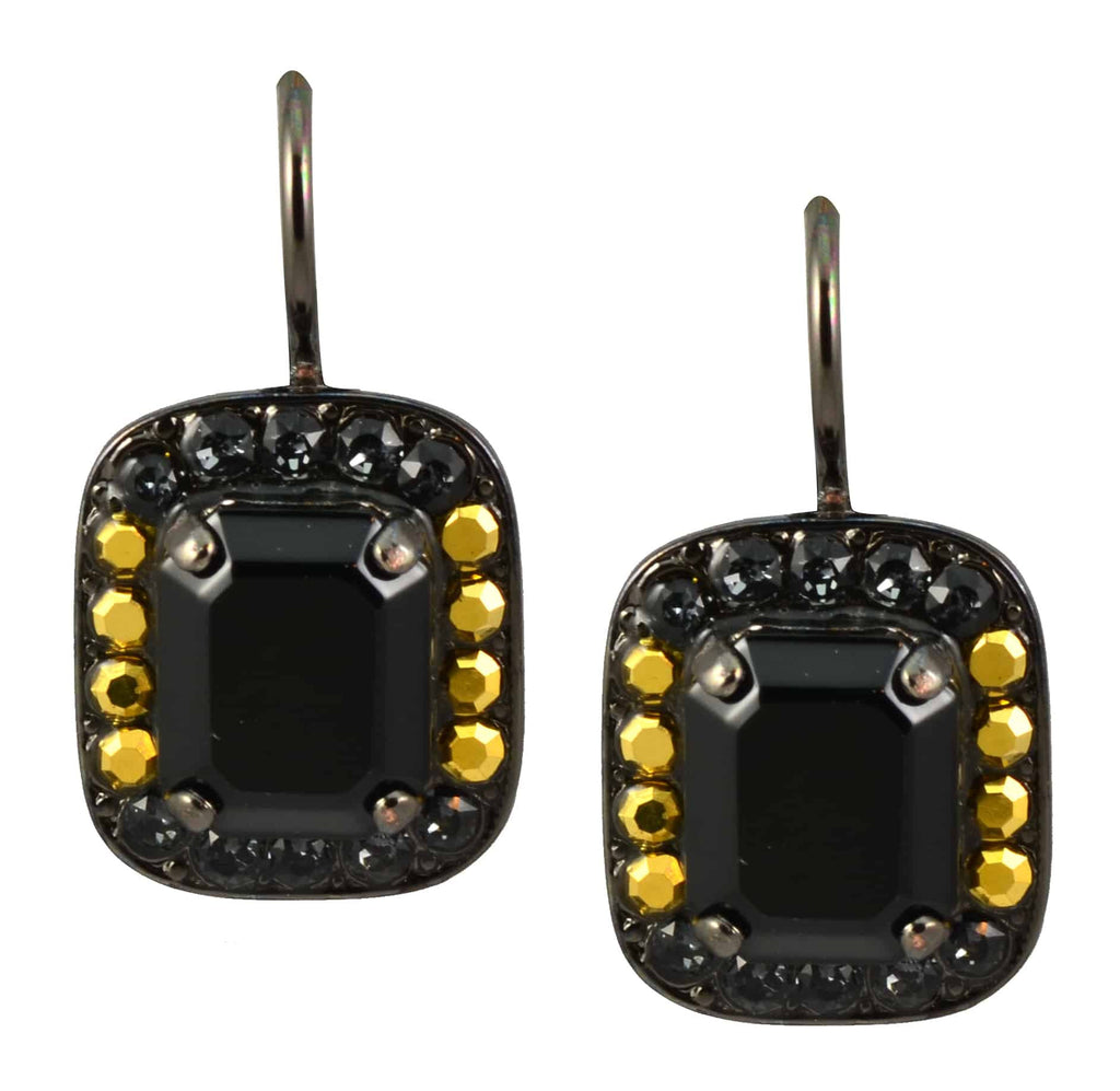 Mariana Jewelry Courage Black Gold Plated Swarovski Crystal Rectangle Drop Earrings