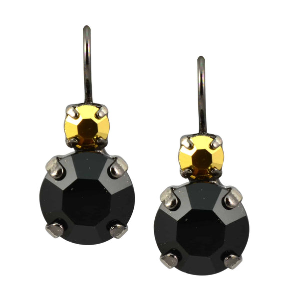 Courage Black Gold Plated Swarovski Crystal Petite Round Drop Earrings