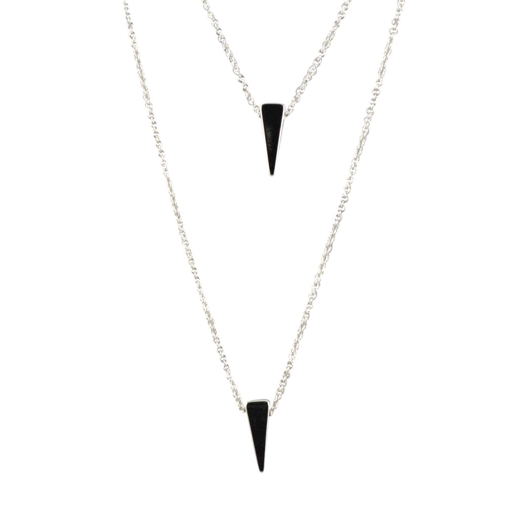 Enreverie 2 Layer Triangle Necklace, Silver Plated Pendant