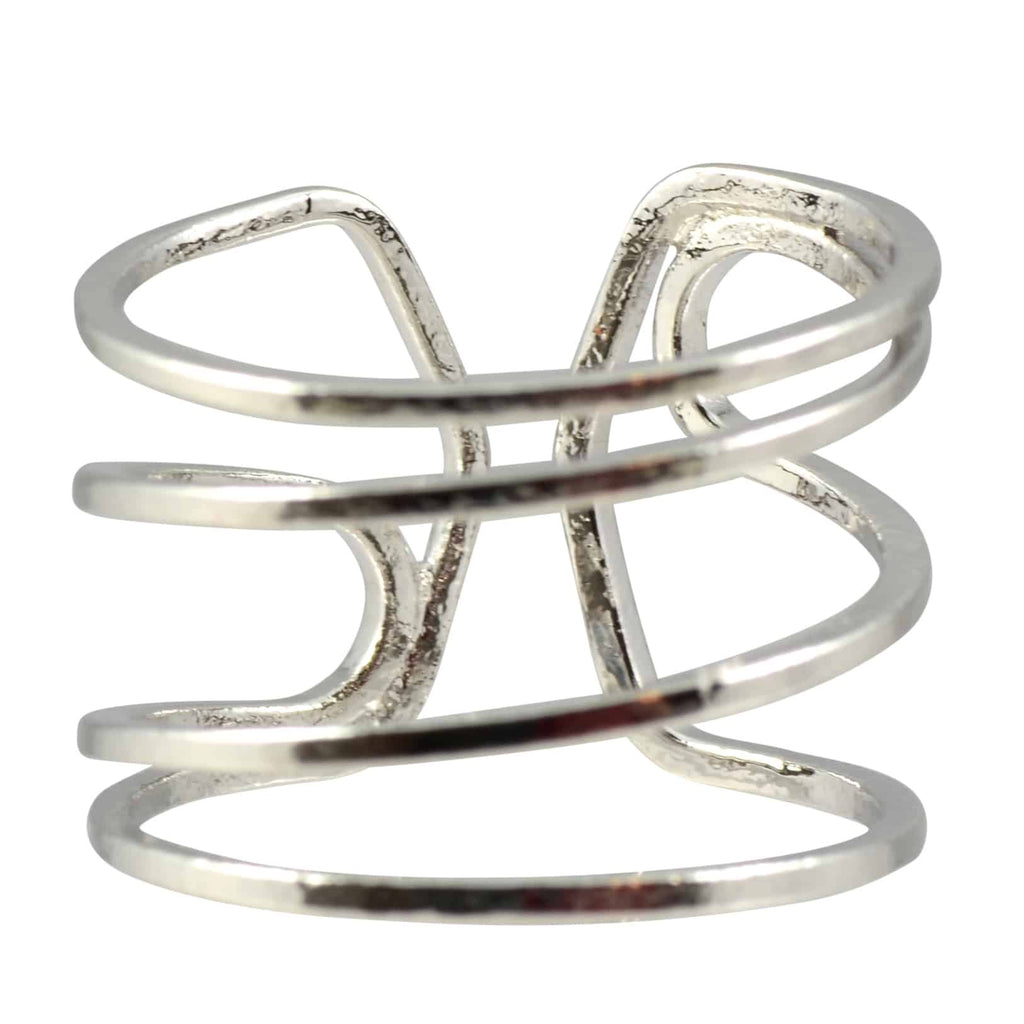 Enreverie 4 Lines Ring, Silver Plated Adjustable