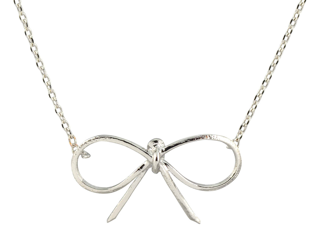 Enreverie Bow/Knot Necklace, Silver Plated Pendant