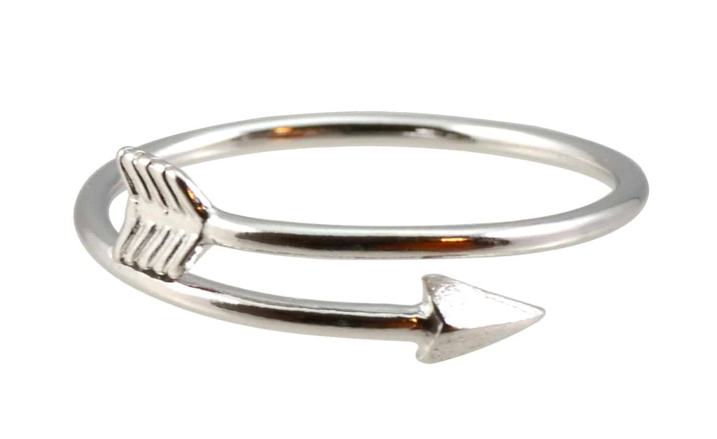 Enreverie Bullseye Silver Plated Arrow Wrap Adjustable Ring