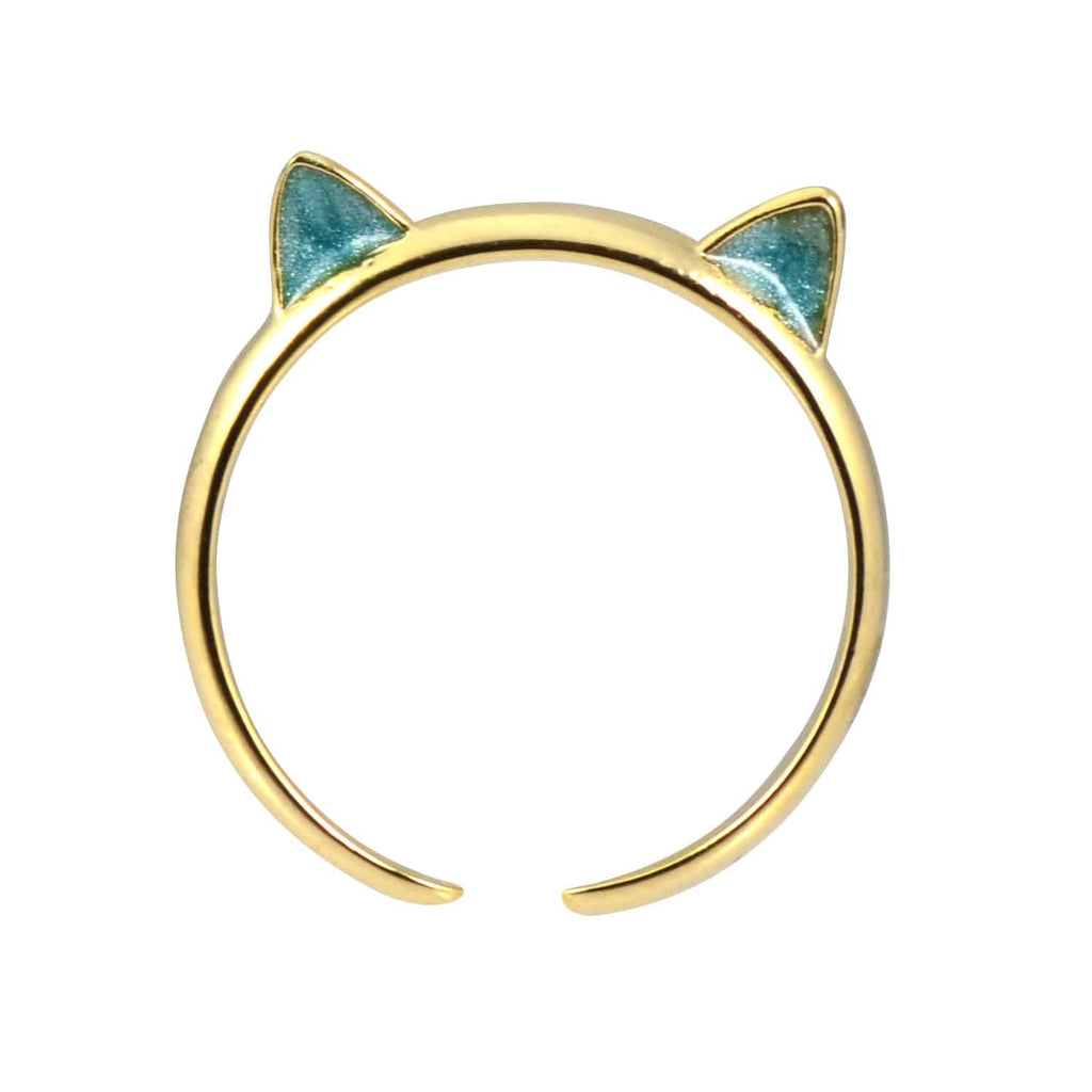 Enreverie Cat Ears Gold Plated Adjustable Midi Cat Ring with Blue Ears