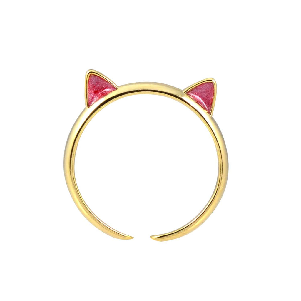 Enreverie Cat Ears Gold Plated Adjustable Midi Cat Ring with Red Ears