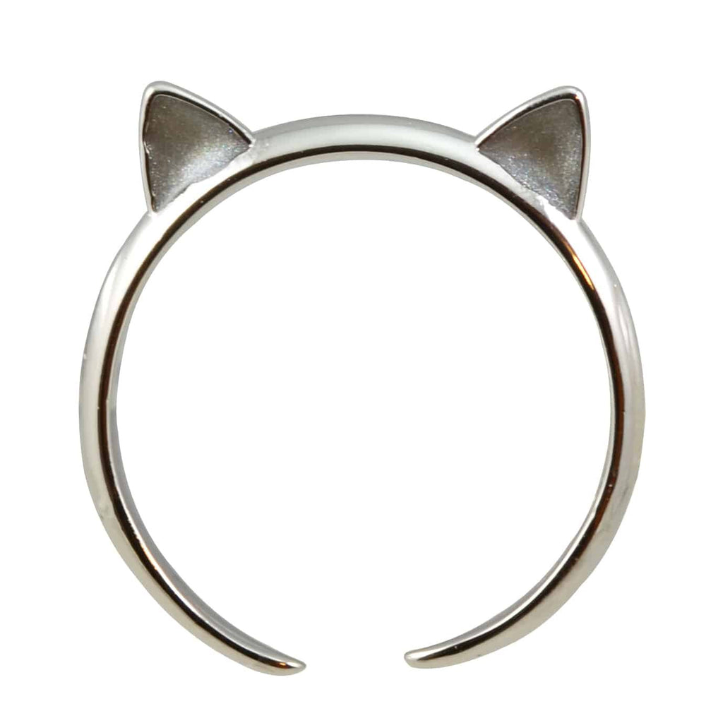 Enreverie Cat Ears Silver Plated Adjustable Cat Ring