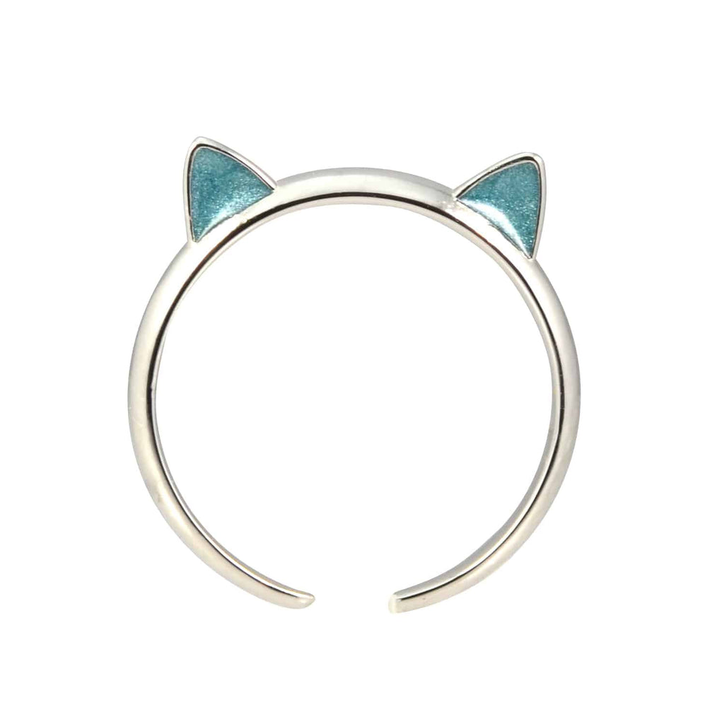 Enreverie Cat Ears Silver Plated Adjustable Midi Cat Ring with Blue Ears