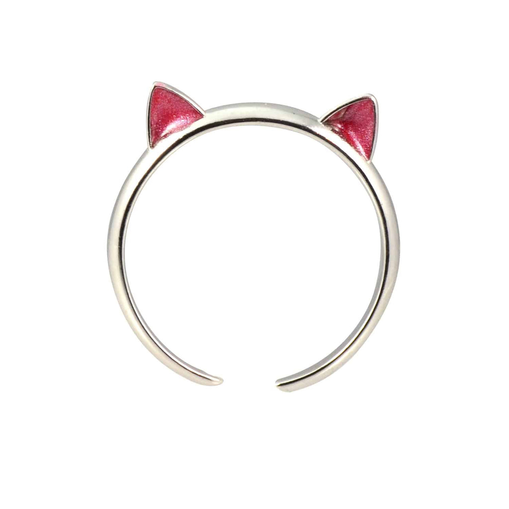 Enreverie Cat Ears Silver Plated Adjustable Midi Cat Ring with Red Ears