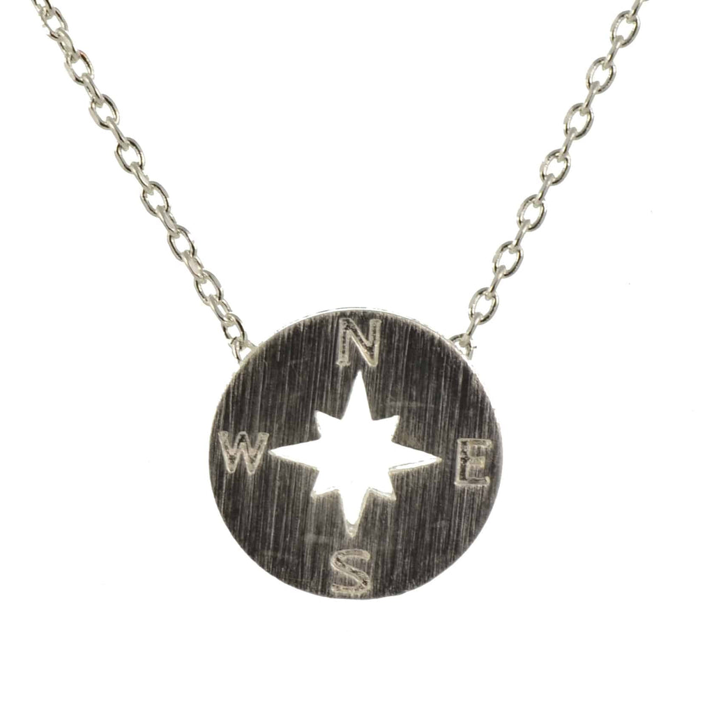 Enreverie Compass Necklace, Silver Plated Pendant