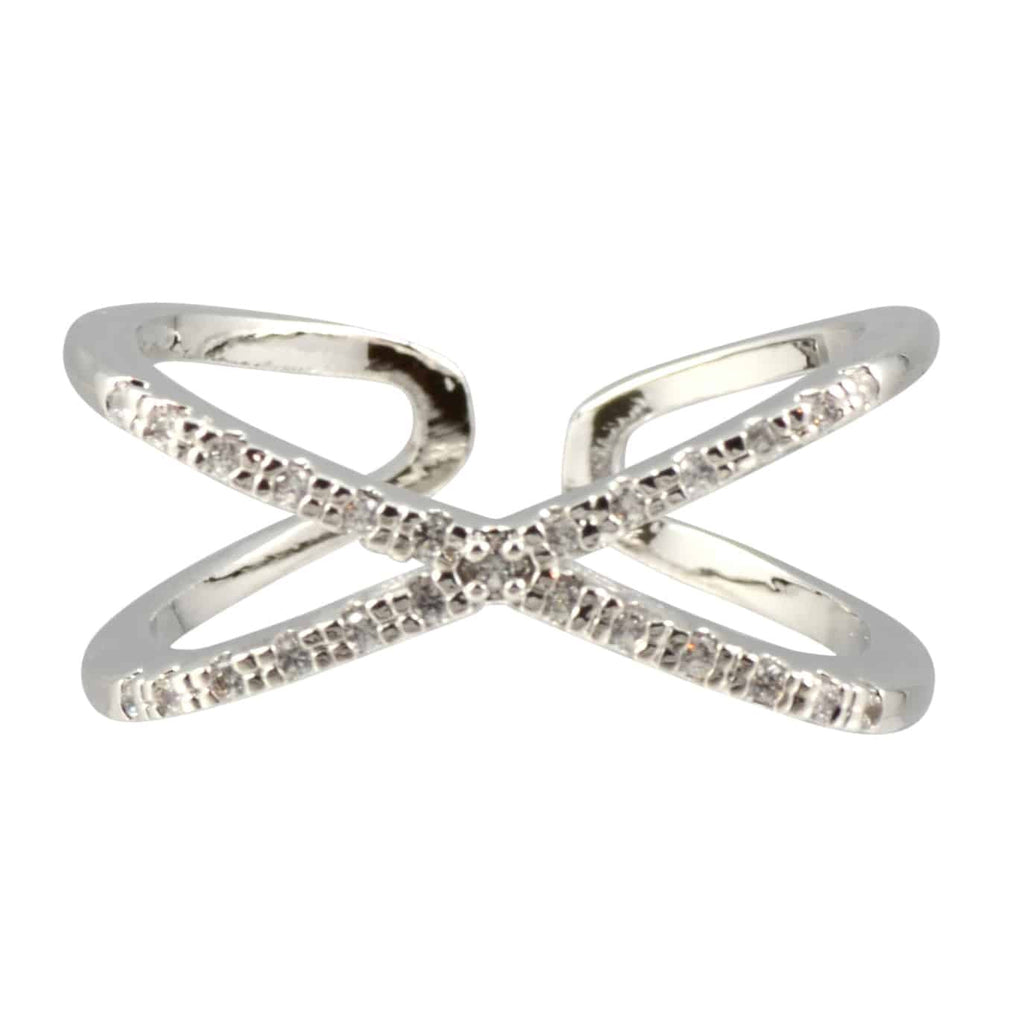 Enreverie Criss Cross Textured Ring, Silver Plated Adjustable