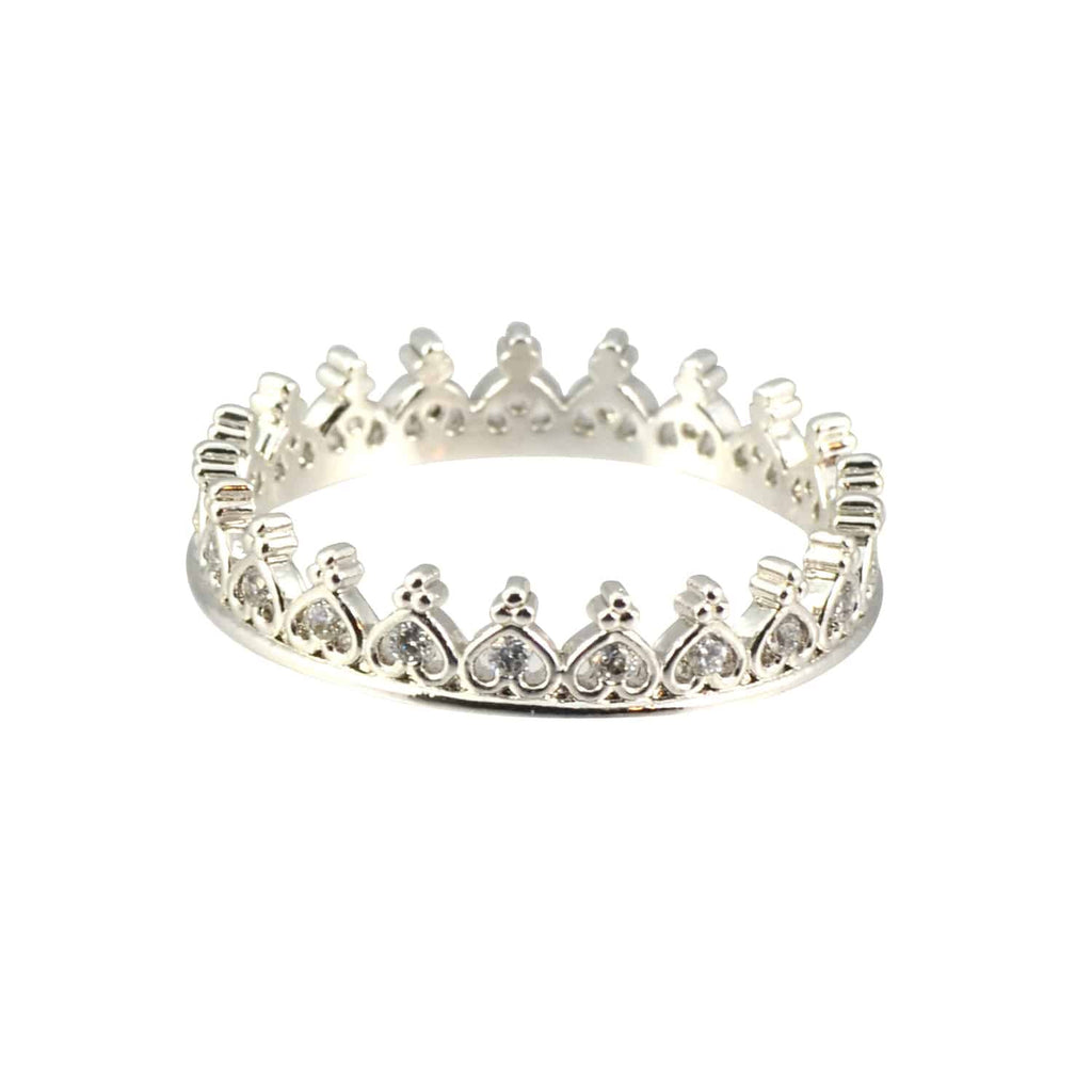 Enreverie Crown Ring, Silver Plated Size 6