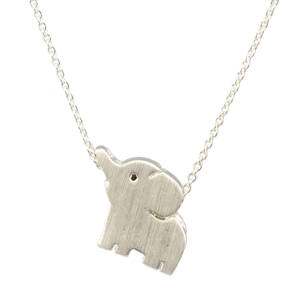 Enreverie Cute Elephant Necklace, Silver Plated Pendant