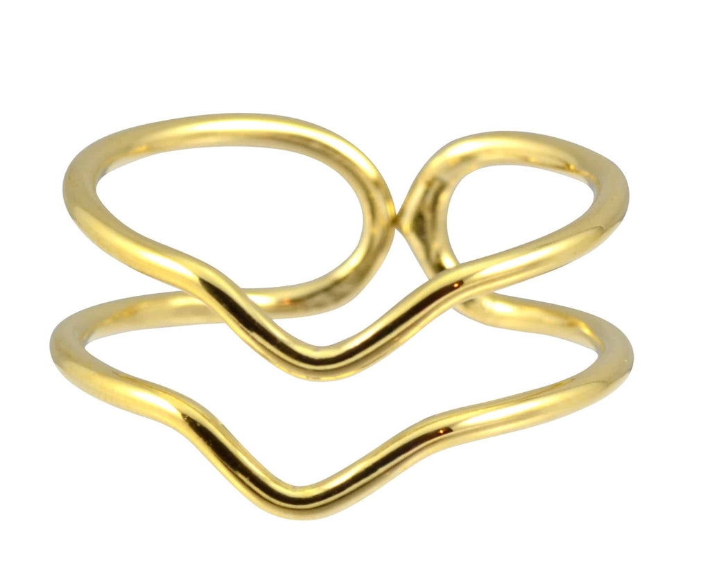 Enreverie Double Chevron Ring, Gold Plated Adjustable