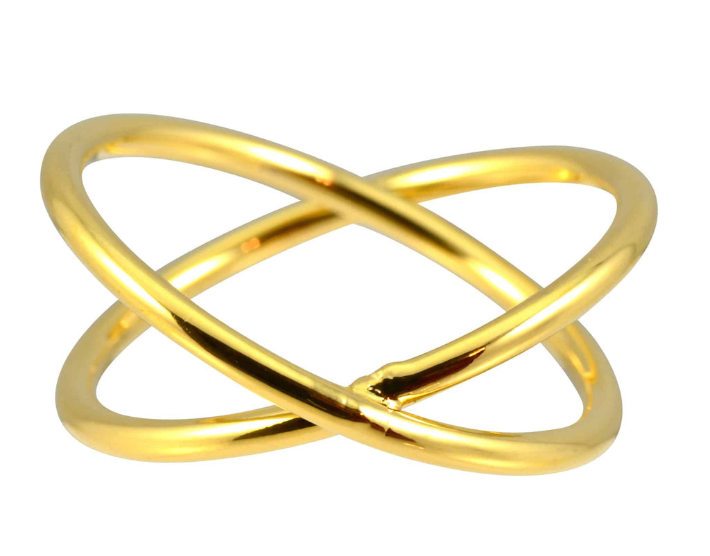Enreverie Double Circle Ring, Gold Plated Size 7
