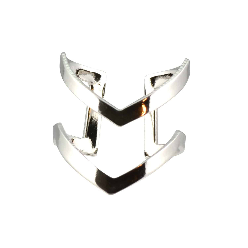Enreverie Double Tall Chevron Ring, Silver Plated Adjustable