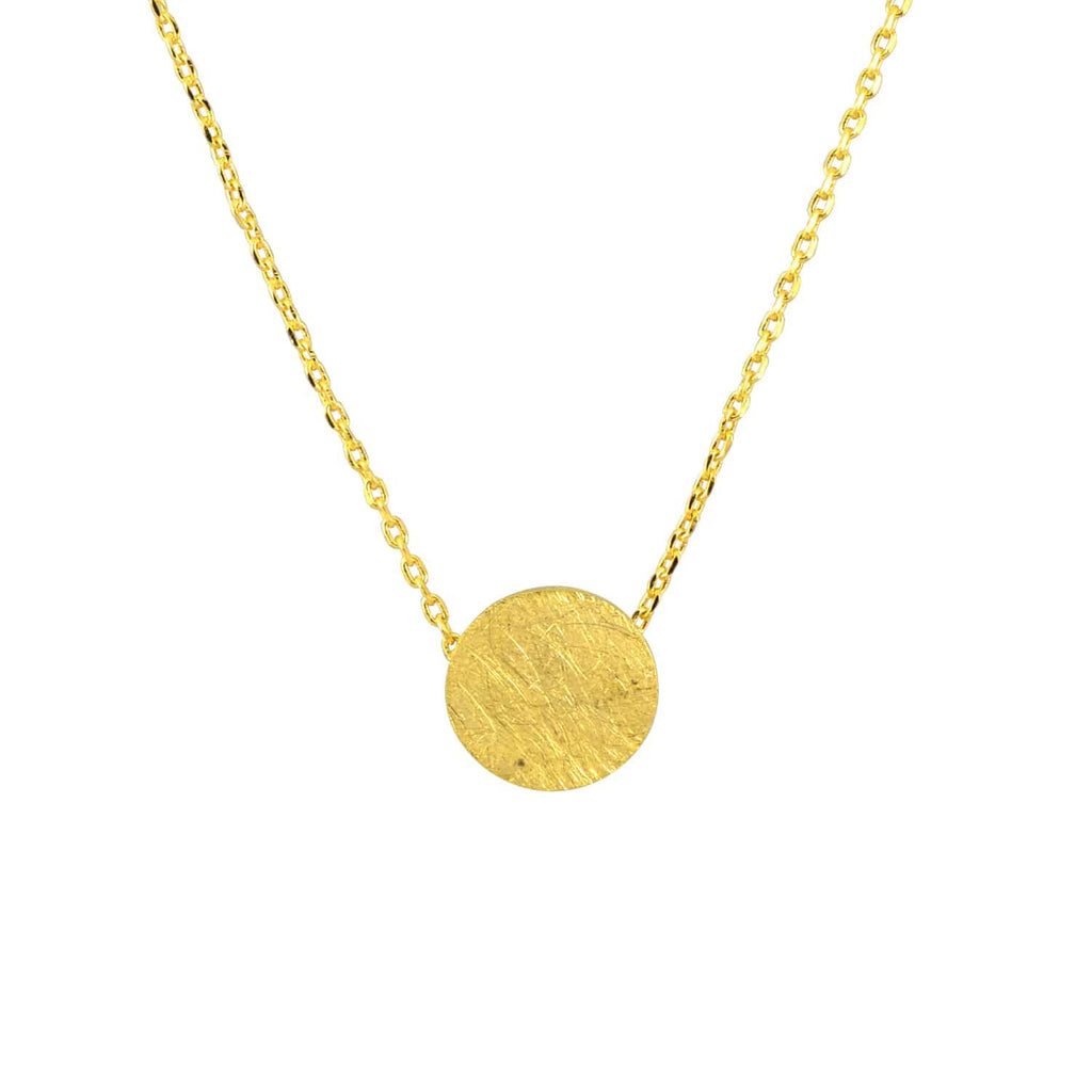Enreverie Filled Circle Necklace, Gold Plated Pendant