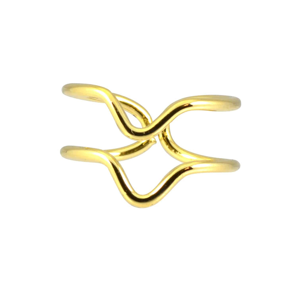 Enreverie Gold Plated Adjustable Double Chevron Midi Ring