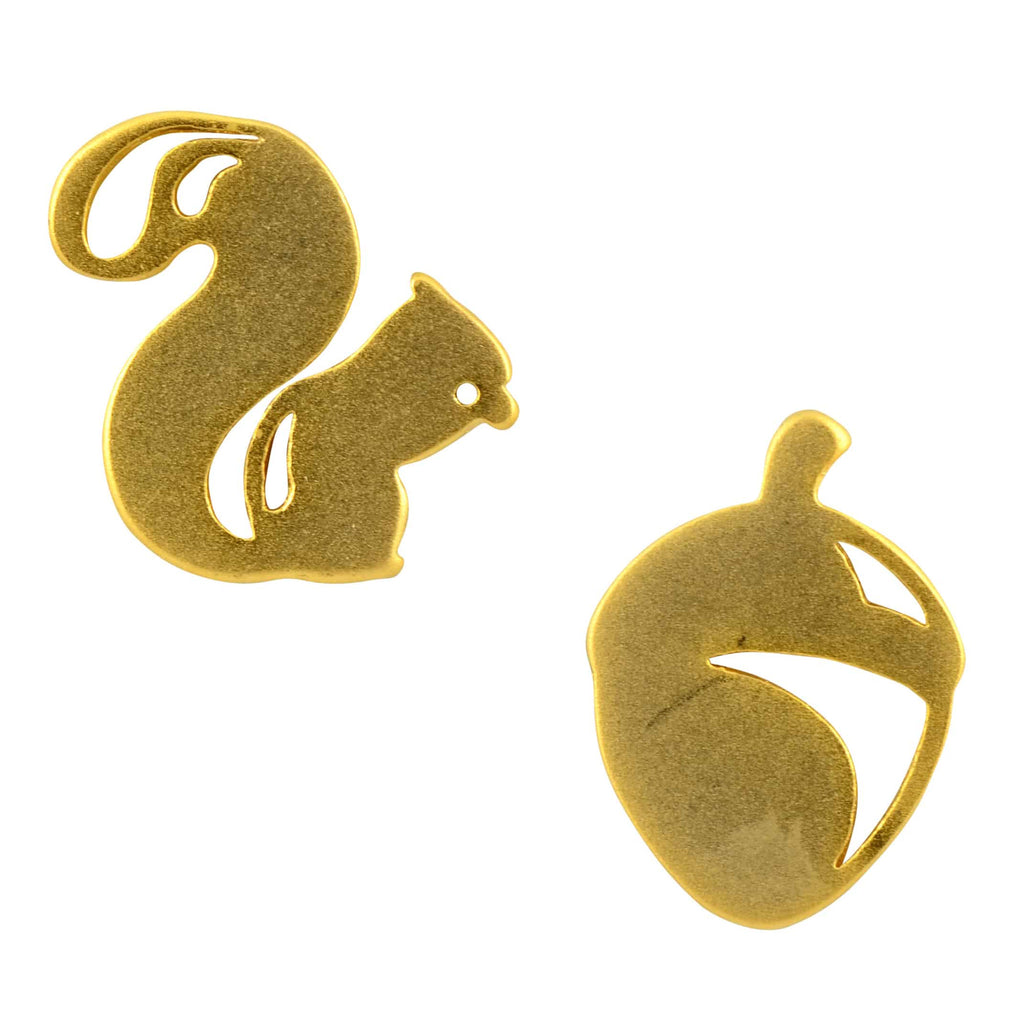 Enreverie Gold Plated Mismatched Squirrel/Acorn Stud Earrings