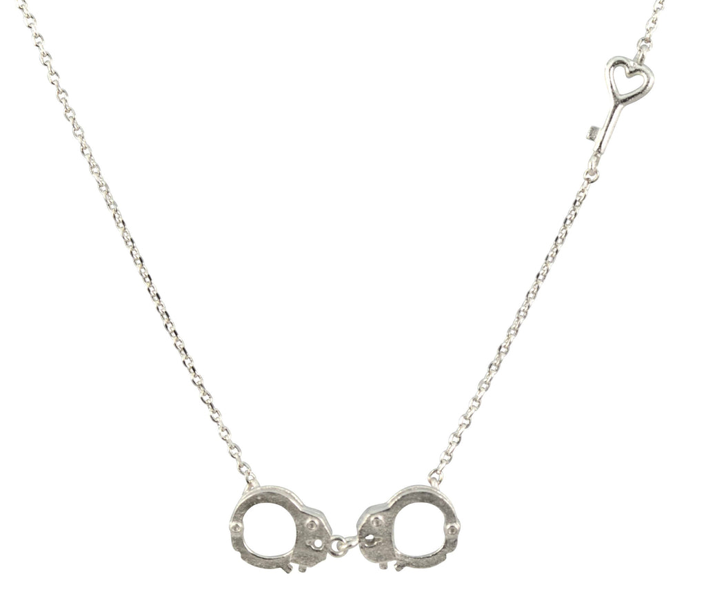 Enreverie Handcuffs and Heart Key Necklace, Silver Plated Pendant ...
