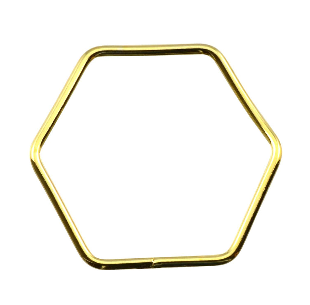 Enreverie Hexagon Ring, Gold Plated Non-Adjustable, Approx. Size 9