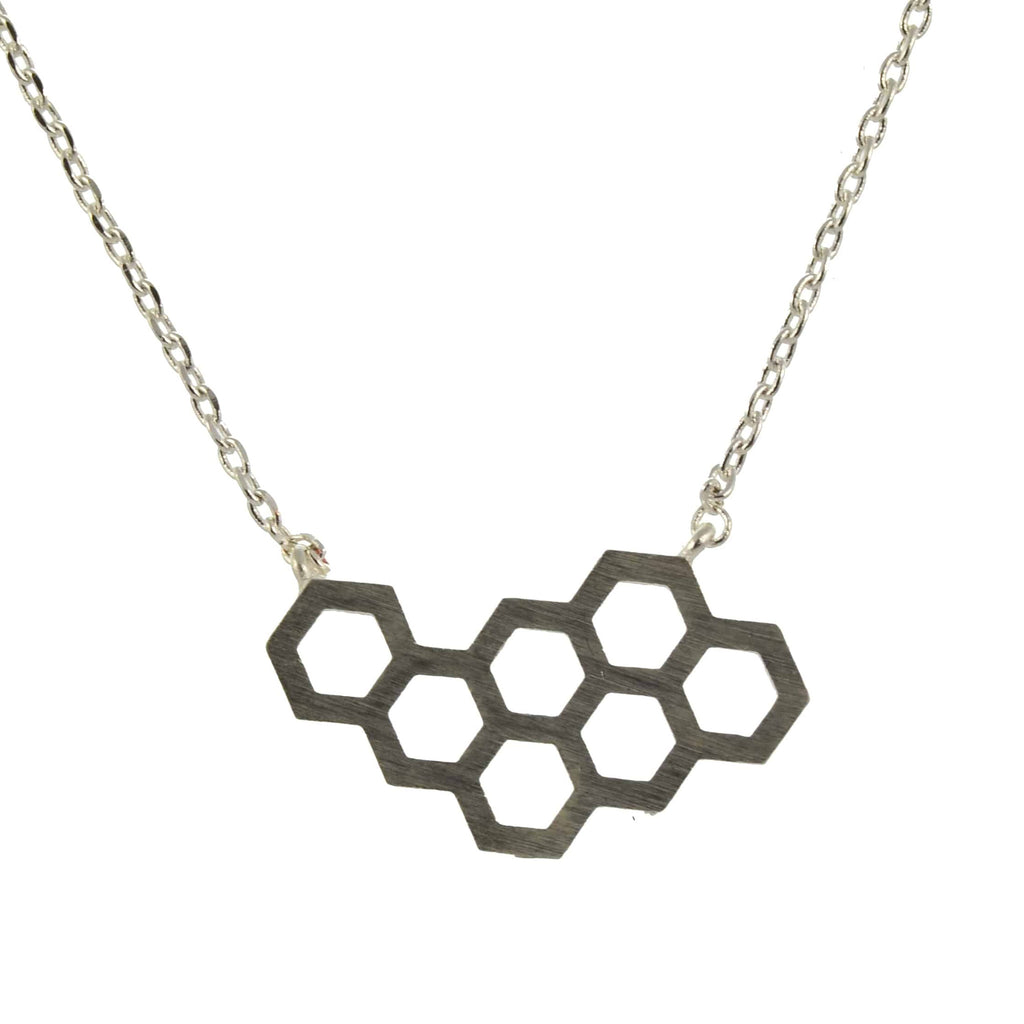 Enreverie Honeycomb Necklace, Silver Plated Pendant