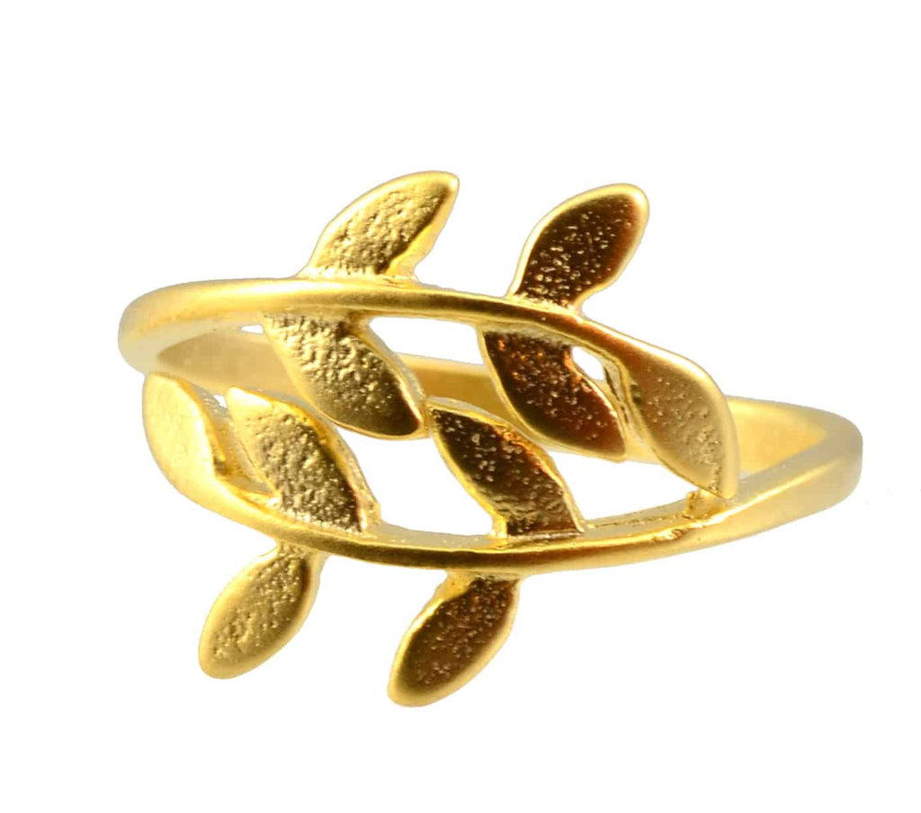 Enreverie Laurel Leaf Gold Plated Adjustable Leaf Ring
