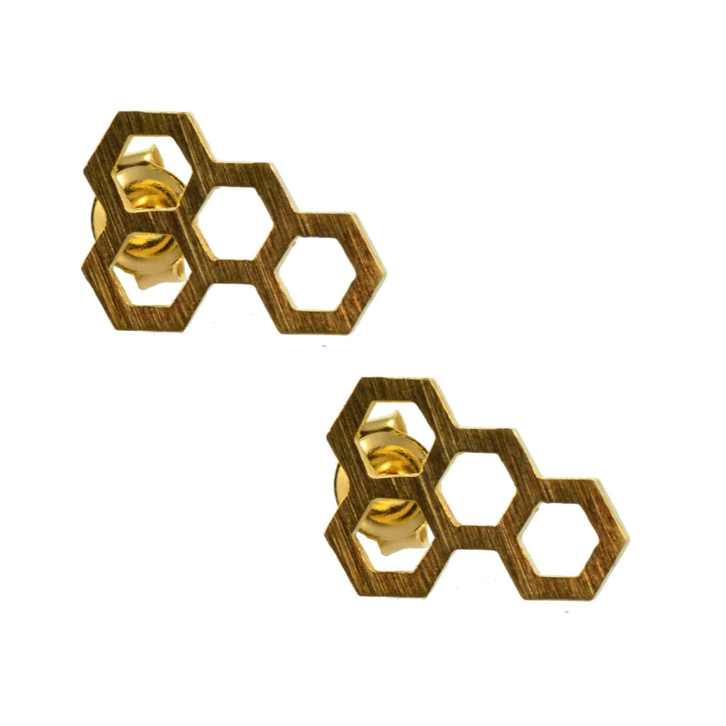 Enreverie Lightweight Gold Plated Honeycomb Stud Earrings