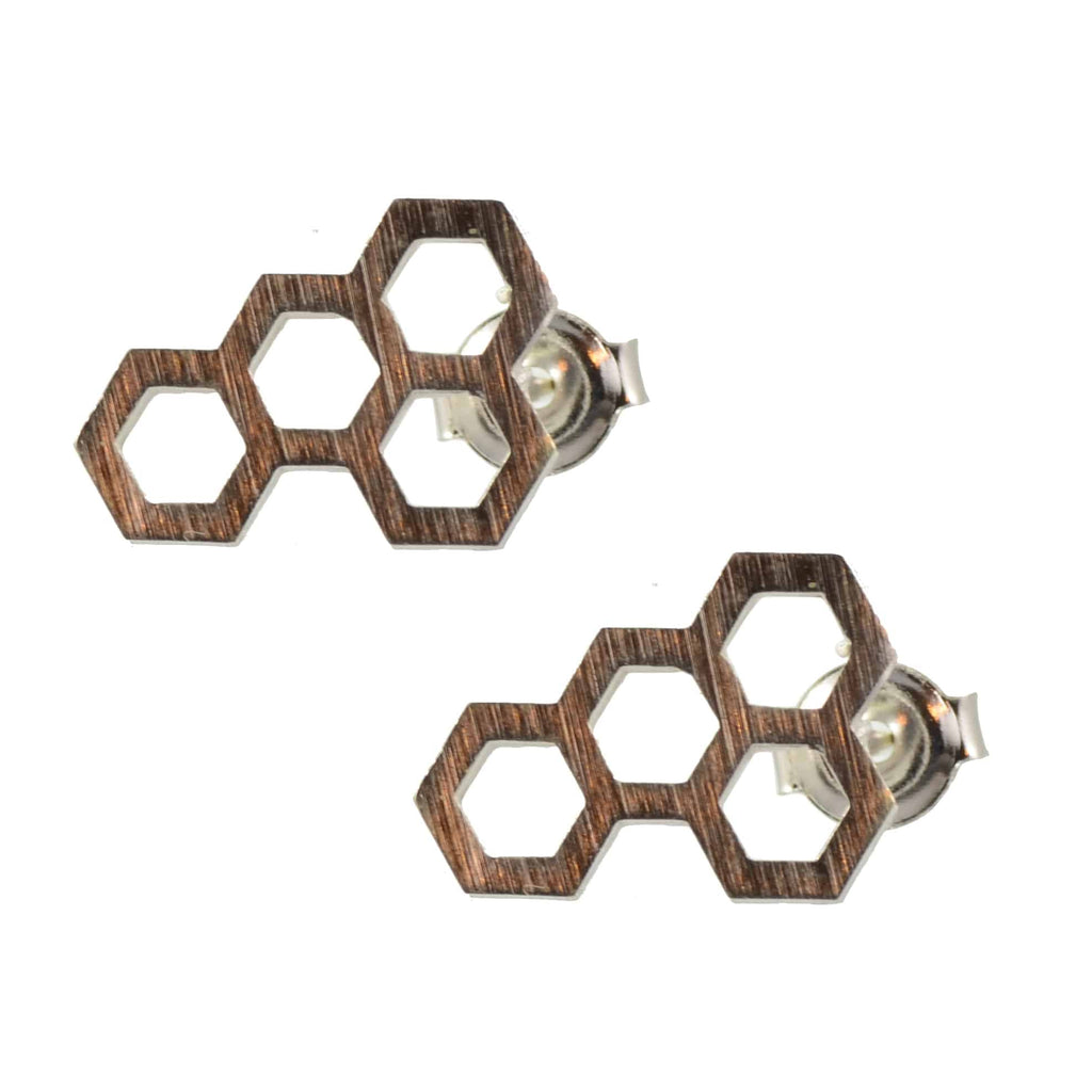 Enreverie Lightweight Silver Plated Honeycomb Stud Earrings
