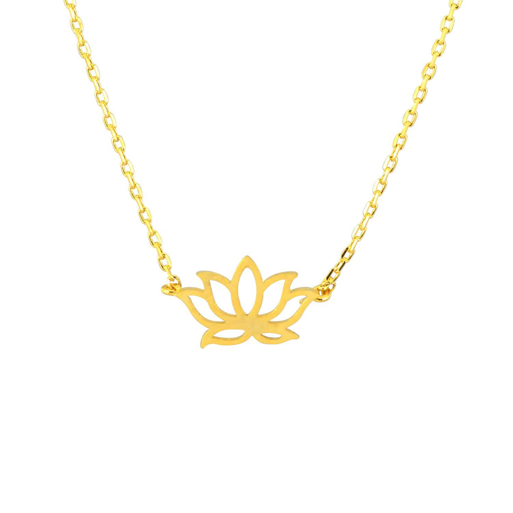 Enreverie Lotus Necklace, Gold Plated Pendant