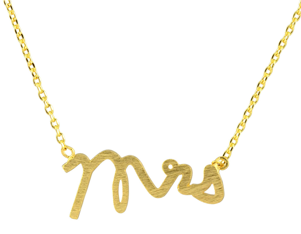 Enreverie Mrs Necklace, Gold Plated Pendant
