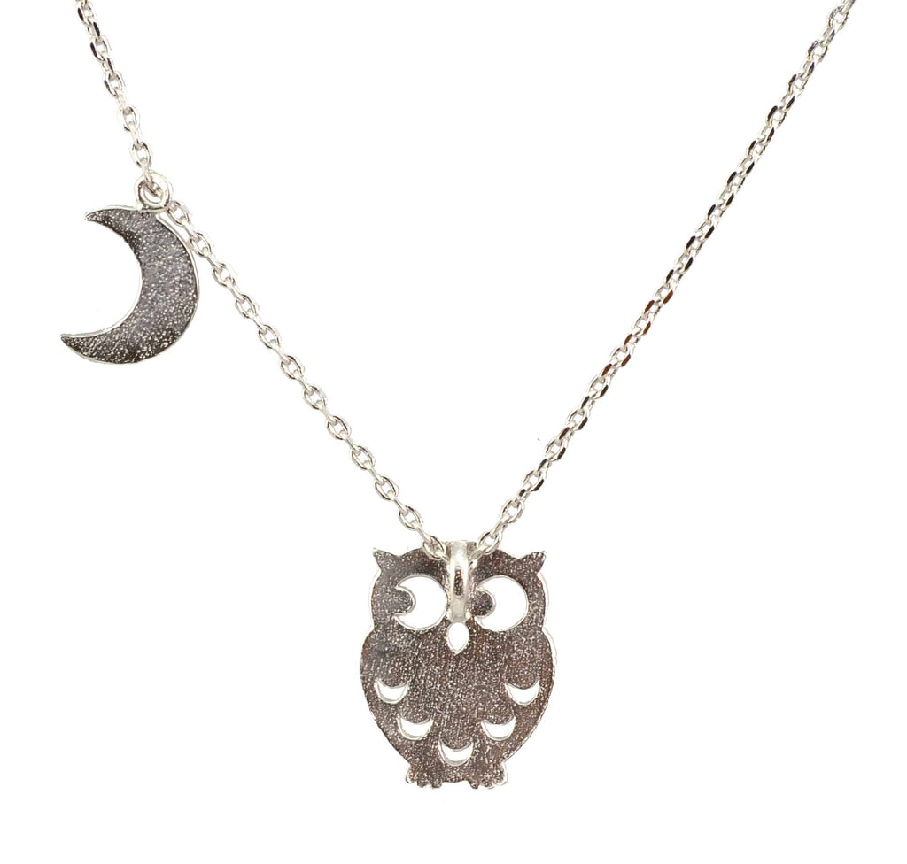 Enreverie Owl and Moon Necklace, Silver Plated Pendant