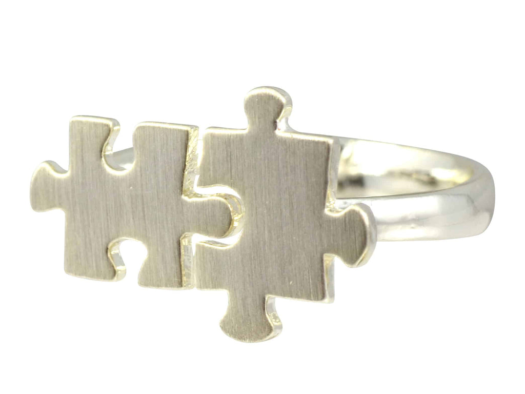 Enreverie Puzzle Ring, Silver Plated Adjustable