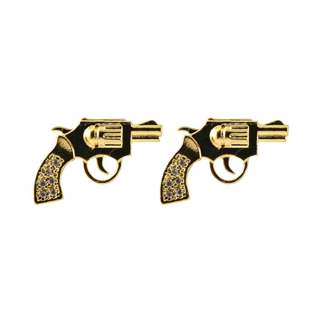 Enreverie Revolver Gun Earrings, Lightweight Gold Plated Stud