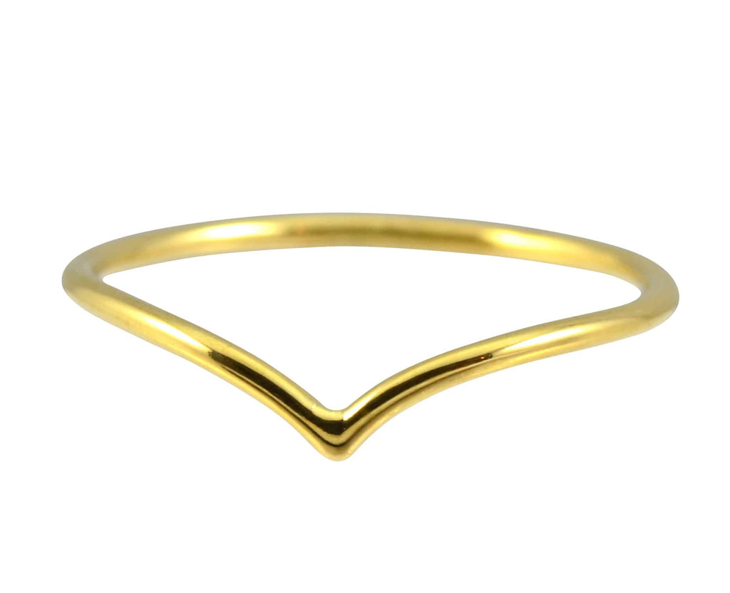 Enreverie Single Chevron Ring, Gold Plated Size 7