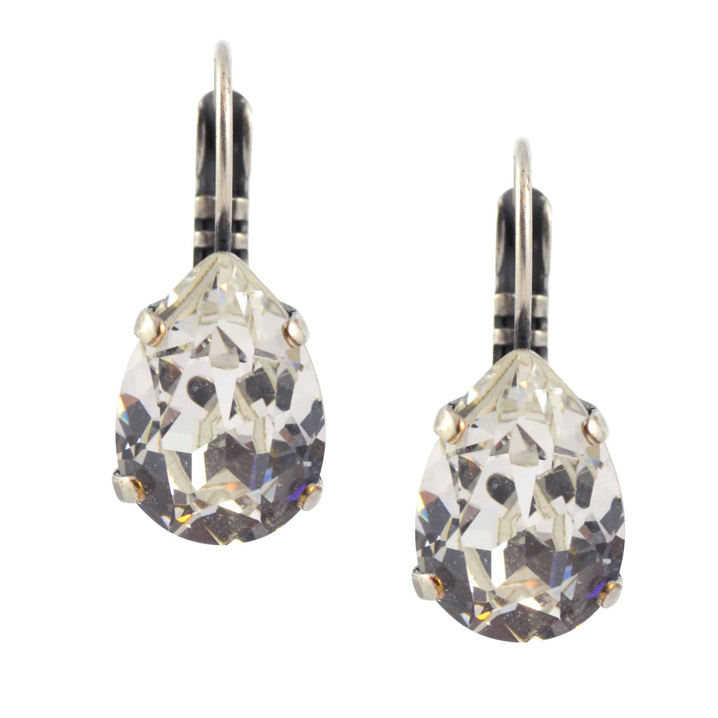 Enreverie Small Teardrop Pear Shape Earrings, Antique Silver Plated with Clear Swarovski Crystal