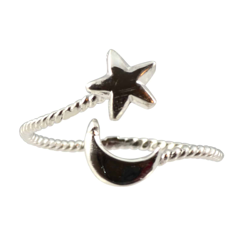 Enreverie Star and Moon Ring, Silver Plated Adjustable