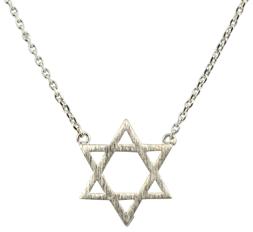 Enreverie Star of David Necklace, Silver Plated Pendant