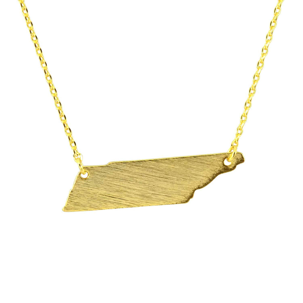 Enreverie Tennessee State Necklace, Gold Plated Pendant