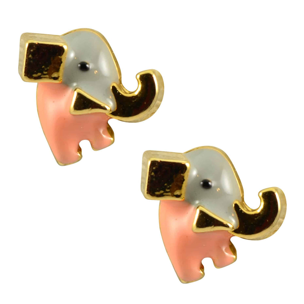 l stud earrings large elephant silver