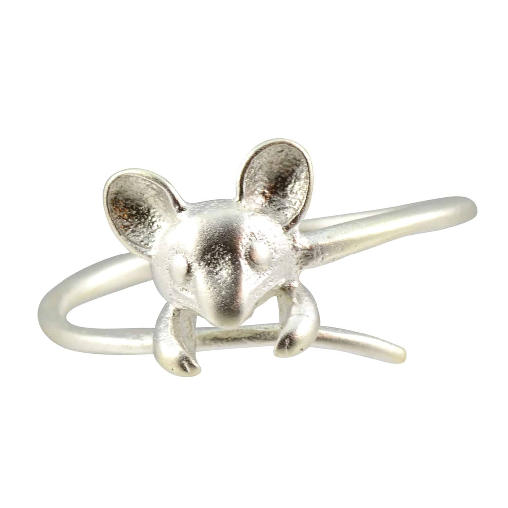 Enreverie Tiny Mouse Ring, Silver Plated Adjustable