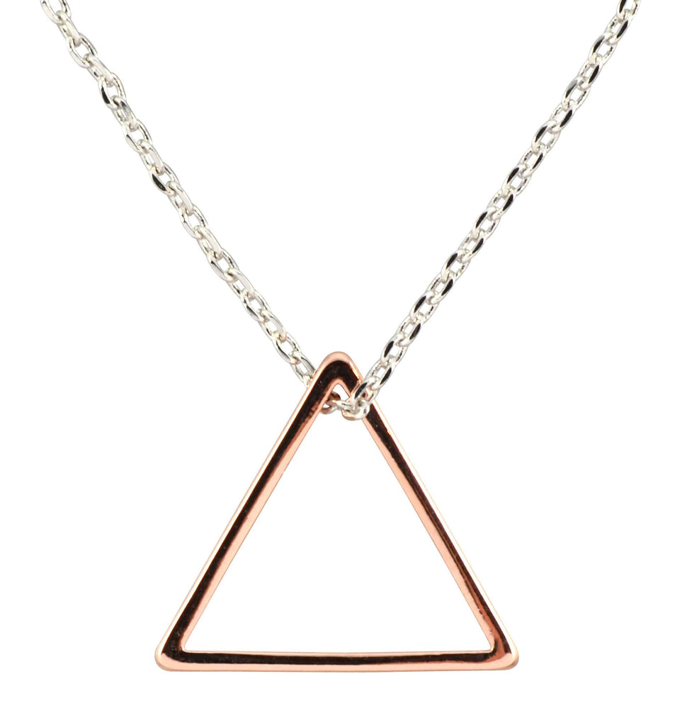 Enreverie Triangle Necklace, Mixed Metal Pendant, Rose Gold/Silver