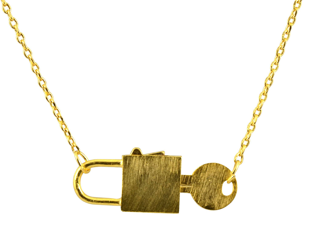 Enreverie Working Lock and Key Necklace, Gold Plated Pendant – En ...