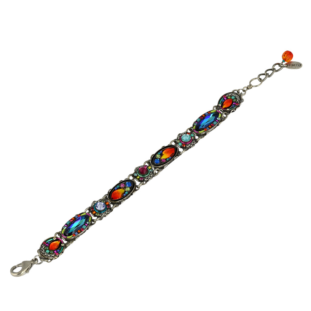 "Firefly Jewelry Emma Mosaic Bracelet, Silver Plated, 8"" 3103-MC Multicolor"