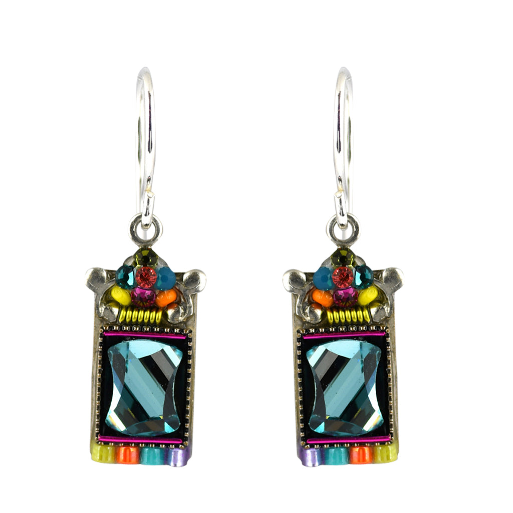 Firefly Jewelry Mosaic Mirror Rectangle Earrings, Silver Plated Multicolor Crystal Dangle