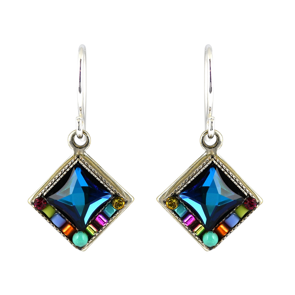 Firefly Jewelry Bright Diamond Shape Earrings, Silver Plated Multicolor Crystal Dangle
