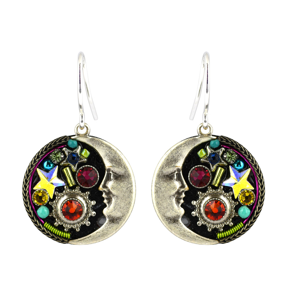 Firefly Jewelry Midnight Moon Earrings, Silver Plated Multicolor Crystal Dangle